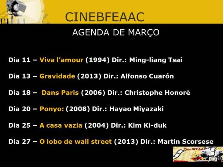 cinebfeaac agenda - MARÇO